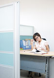Beautiful business woman. Is working at the office stock photo