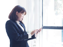 Beautiful business woman is working. Business woman working in office stock images