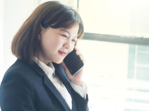 Beautiful business woman is working. Business woman working in office royalty free stock images