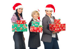 Beautiful business women celebrate Christmas royalty free stock photo