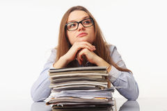 Beautiful businesslady search for solutions to problems. The con Stock Photography