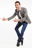 Beautiful businessman pointing at something Royalty Free Stock Images
