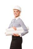 Beautiful businesswoman architect holding Royalty Free Stock Photo