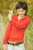 Beautiful businesswoman in autumn park Royalty Free Stock Photos