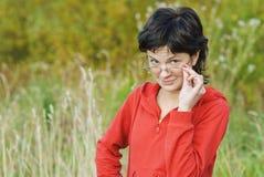 Beautiful businesswoman in autumn park Stock Images