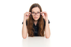 Beautiful businesswoman behind the desk Stock Photography