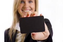 Beautiful businesswoman with a blank card Royalty Free Stock Photography