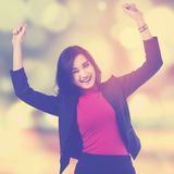 Beautiful businesswoman with blur background Stock Images
