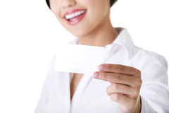 Beautiful businesswoman with businesscard. Royalty Free Stock Photos