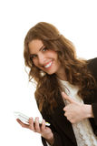 Beautiful businesswoman calculate on the calculator Royalty Free Stock Images