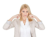 Beautiful businesswoman closing ears Stock Photos
