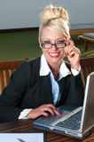 Beautiful businesswoman with computer Stock Photography