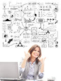 Beautiful businesswoman with conceptual schemes Stock Images