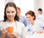 Beautiful businesswoman with cup of coffee Royalty Free Stock Photography