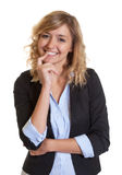 Beautiful businesswoman with curly blond hair Royalty Free Stock Photography