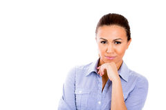 Beautiful businesswoman in deep thought Royalty Free Stock Photography
