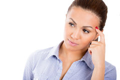Beautiful businesswoman in deep thought Stock Photos