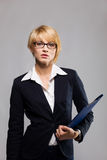 Beautiful businesswoman with document case Stock Photos