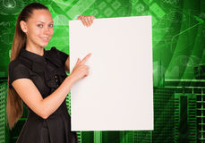 Beautiful businesswoman in dress holding empty Stock Image