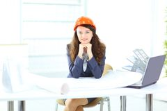Beautiful businesswoman engineer Royalty Free Stock Photos