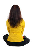 Beautiful businesswoman exercising yoga Stock Photo