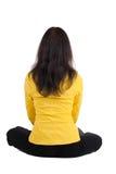 Beautiful businesswoman exercising yoga. Stock Photo