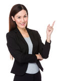 Beautiful businesswoman with finger point up Royalty Free Stock Images
