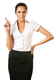 Beautiful businesswoman with finger up Royalty Free Stock Images