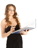 Beautiful businesswoman with a folder Stock Photography