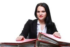 Beautiful businesswoman with folders Stock Photo
