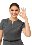 Beautiful Businesswoman Gesturing Okay Stock Image