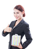 Beautiful businesswoman with gift box Stock Photos