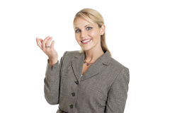 Beautiful businesswoman with hand up Stock Image