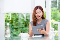Beautiful businesswoman have enjoyed in the garden with tablet. The beautiful businesswoman have enjoyed in the garden with tablet Stock Image