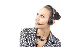 Beautiful businesswoman with headset Royalty Free Stock Photos