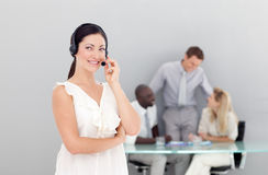 Beautiful businesswoman with a headset on Stock Image