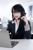 Beautiful businesswoman in help desk Royalty Free Stock Images
