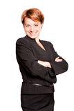 Beautiful businesswoman with her arms crossed. On white background Royalty Free Stock Photos