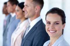 Beautiful businesswoman with her team Stock Images