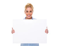 Beautiful Businesswoman Holding Blank Card Stock Photo