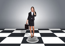 Beautiful businesswoman holding briefcase and Royalty Free Stock Photos