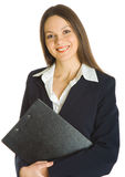 A beautiful businesswoman holding a clipboard. Isolated on white background Stock Photo