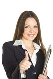 A beautiful businesswoman holding a clipboard Royalty Free Stock Photos