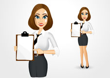 Beautiful businesswoman holding clipboard Stock Photography