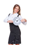 Beautiful businesswoman holding clock Royalty Free Stock Photo