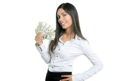 Beautiful businesswoman holding Dollar notes Stock Photo