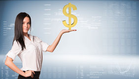 Beautiful businesswoman holding dollar sign. Blue. Beautiful businesswoman in white shirt and black skirt holding dollar sign. Graphs and texts as backdrop Stock Photography