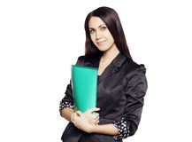 Beautiful businesswoman holding folder Stock Images