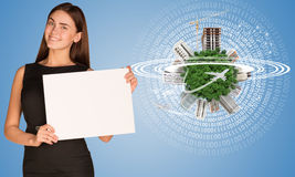 Beautiful businesswoman holding paper holder. Stock Images