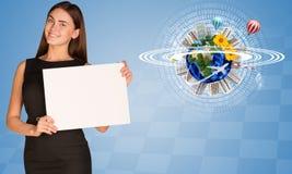 Beautiful businesswoman holding paper holder. Stock Photo